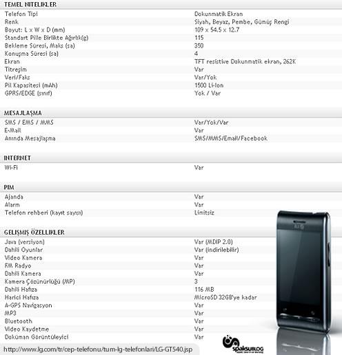 LG Optimus GT540 tanıtım vidyosu ve teknik özellikleri