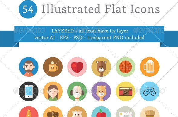 54 Illustrated Flat Icons